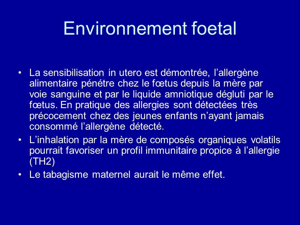 Environnement foetal La sensibilisation in utero est démontrée, lallergène alimentaire pénétre chez le fœtus depuis la mère par voie sanguine et par l