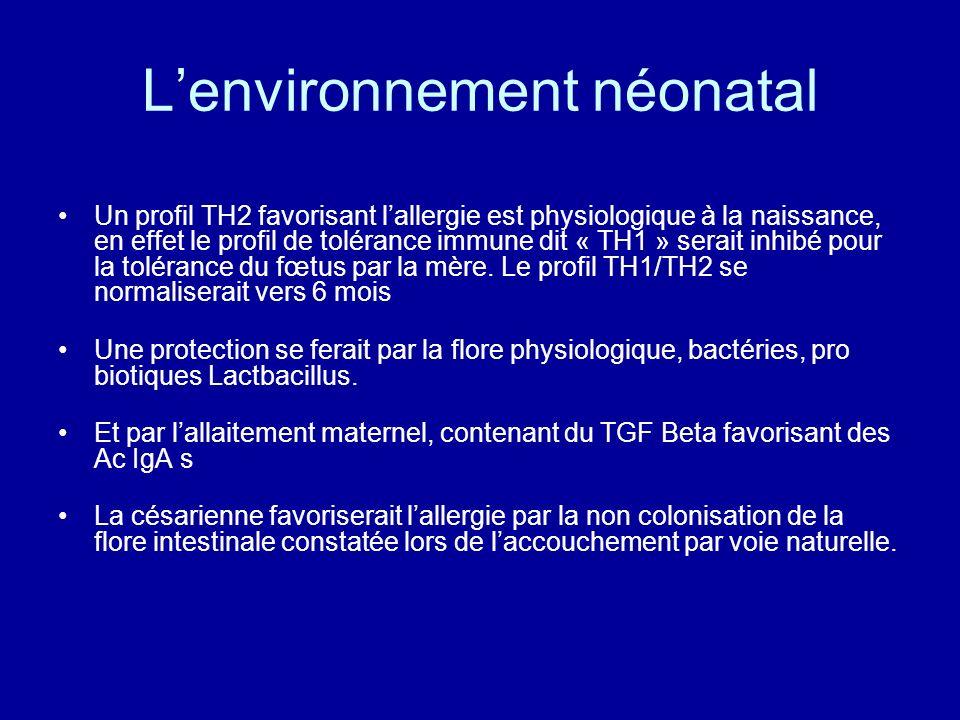 Lenvironnement néonatal Un profil TH2 favorisant lallergie est physiologique à la naissance, en effet le profil de tolérance immune dit « TH1 » serait