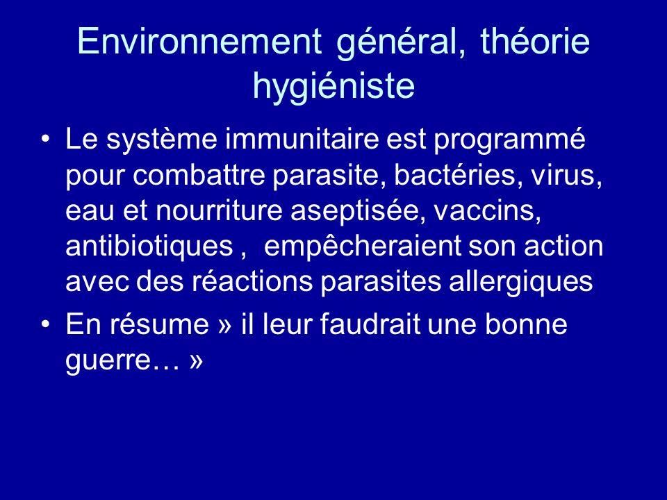 Environnement général, théorie hygiéniste Le système immunitaire est programmé pour combattre parasite, bactéries, virus, eau et nourriture aseptisée,