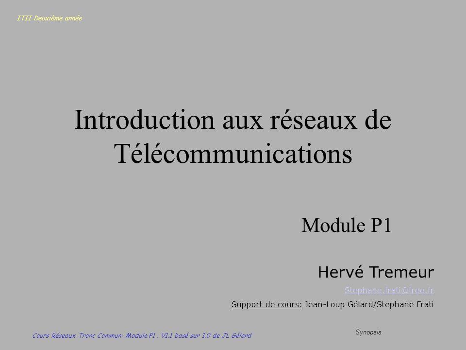 ITII Deuxième année Cours Réseaux Tronc Commun: Module P1. V1.1 basé sur 1.0 de JL Gélard Synopsis Introduction aux réseaux de Télécommunications Modu