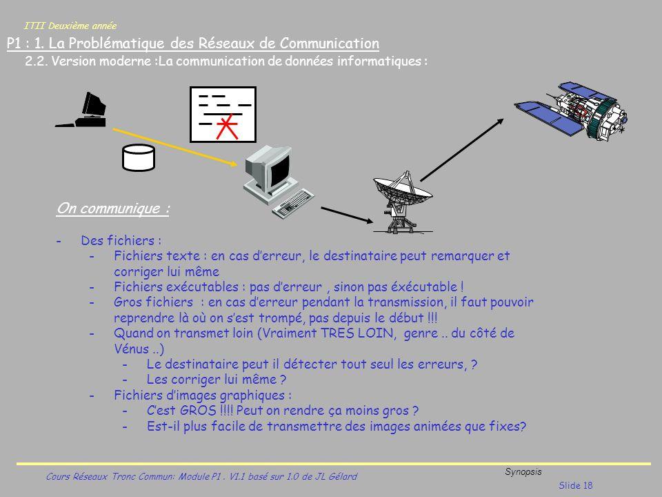 ITII Deuxième année Cours Réseaux Tronc Commun: Module P1. V1.1 basé sur 1.0 de JL Gélard Synopsis Slide 18 P1 : 1. La Problématique des Réseaux de Co