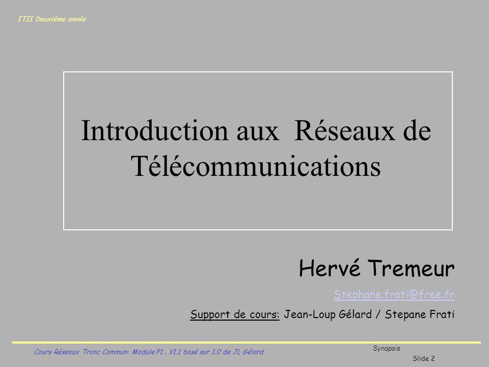 ITII Deuxième année Cours Réseaux Tronc Commun: Module P1. V1.1 basé sur 1.0 de JL Gélard Synopsis Introduction aux Réseaux de Télécommunications Slid