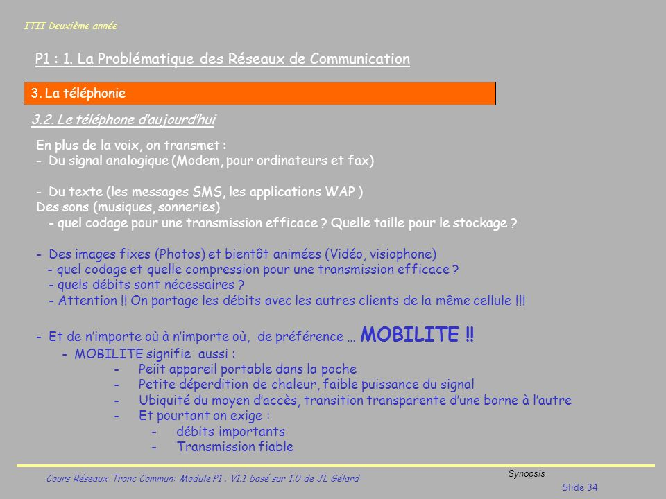 ITII Deuxième année Cours Réseaux Tronc Commun: Module P1. V1.1 basé sur 1.0 de JL Gélard Synopsis Slide 34 P1 : 1. La Problématique des Réseaux de Co