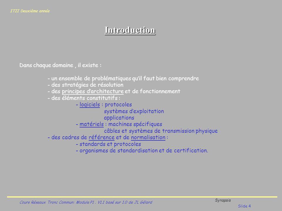 ITII Deuxième année Cours Réseaux Tronc Commun: Module P1. V1.1 basé sur 1.0 de JL Gélard Synopsis Slide 4 Introduction Dans chaque domaine, il existe