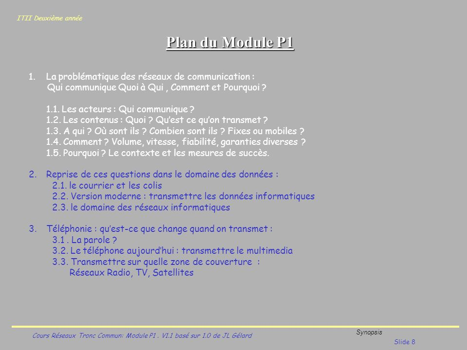ITII Deuxième année Cours Réseaux Tronc Commun: Module P1. V1.1 basé sur 1.0 de JL Gélard Synopsis Slide 8 Plan du Module P1 1.La problématique des ré
