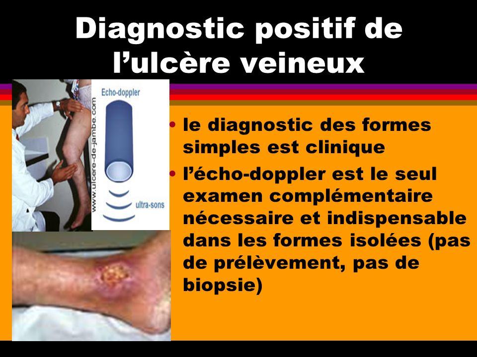 Diagnostic positif de lulcère veineux le diagnostic des formes simples est clinique lécho-doppler est le seul examen complémentaire nécessaire et indi