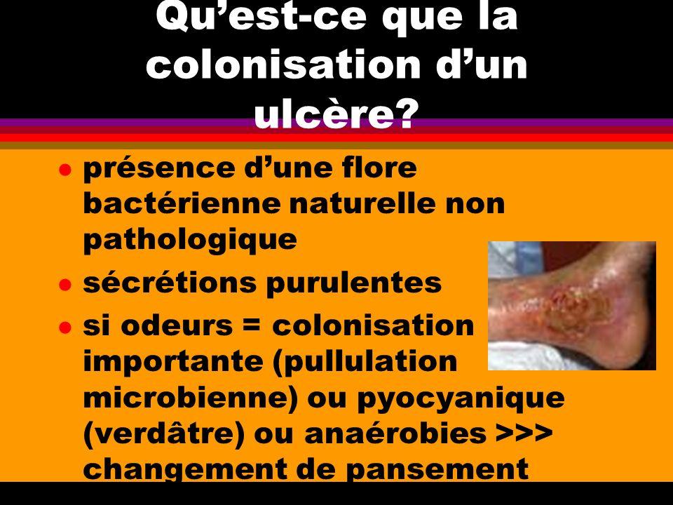Quest-ce que la colonisation dun ulcère? l présence dune flore bactérienne naturelle non pathologique l sécrétions purulentes l si odeurs = colonisati