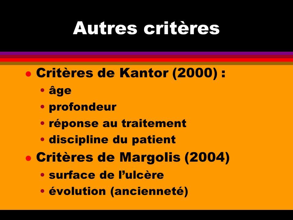 Autres critères l Critères de Kantor (2000) : âge profondeur réponse au traitement discipline du patient l Critères de Margolis (2004) surface de lulc
