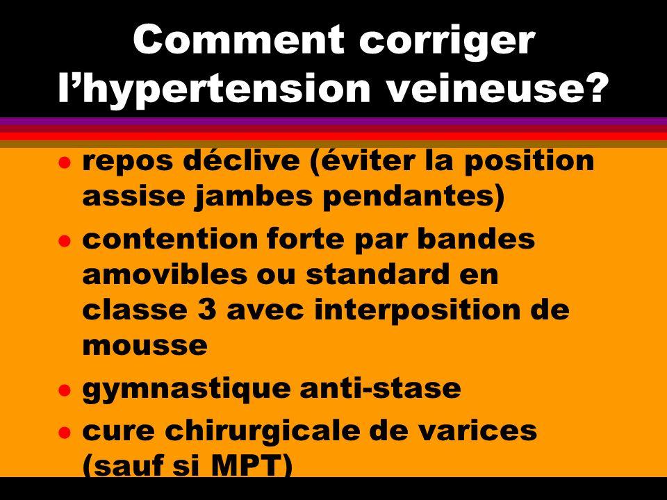 Comment corriger lhypertension veineuse? l repos déclive (éviter la position assise jambes pendantes) l contention forte par bandes amovibles ou stand