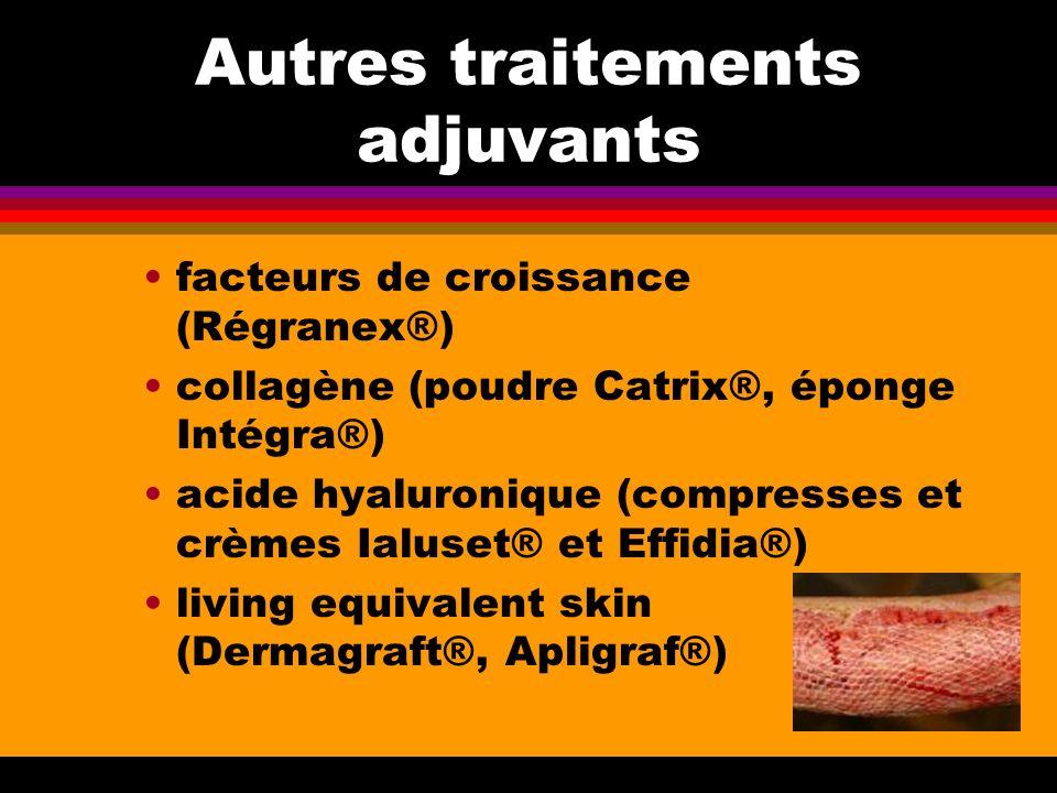 Autres traitements adjuvants facteurs de croissance (Régranex®) collagène (poudre Catrix®, éponge Intégra®) acide hyaluronique (compresses et crèmes I