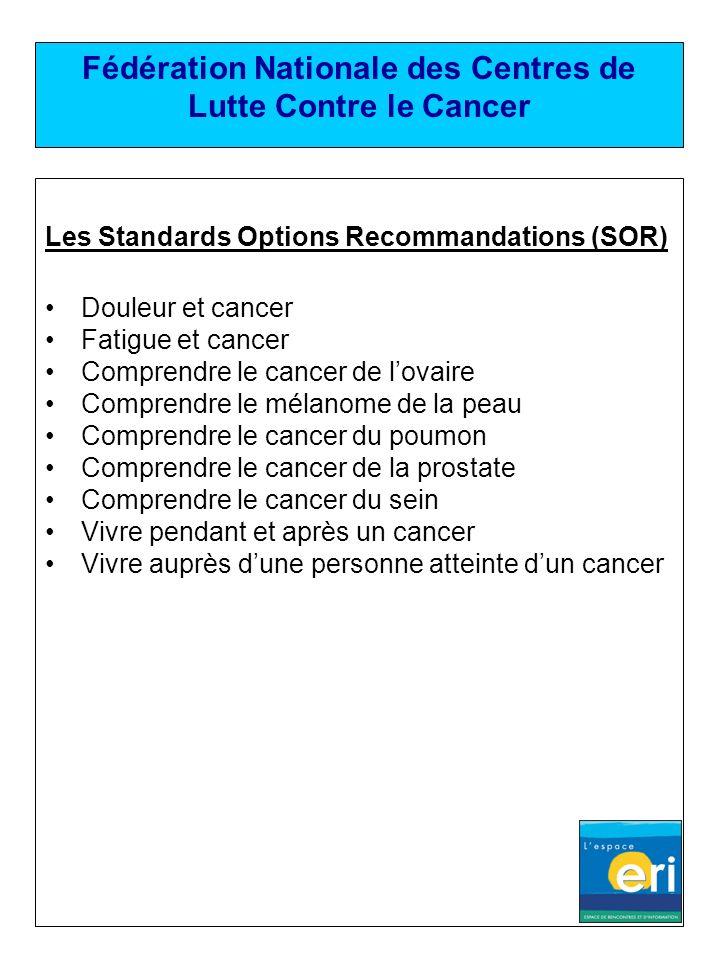 Fédération Nationale des Centres de Lutte Contre le Cancer Les Standards Options Recommandations (SOR) Douleur et cancer Fatigue et cancer Comprendre