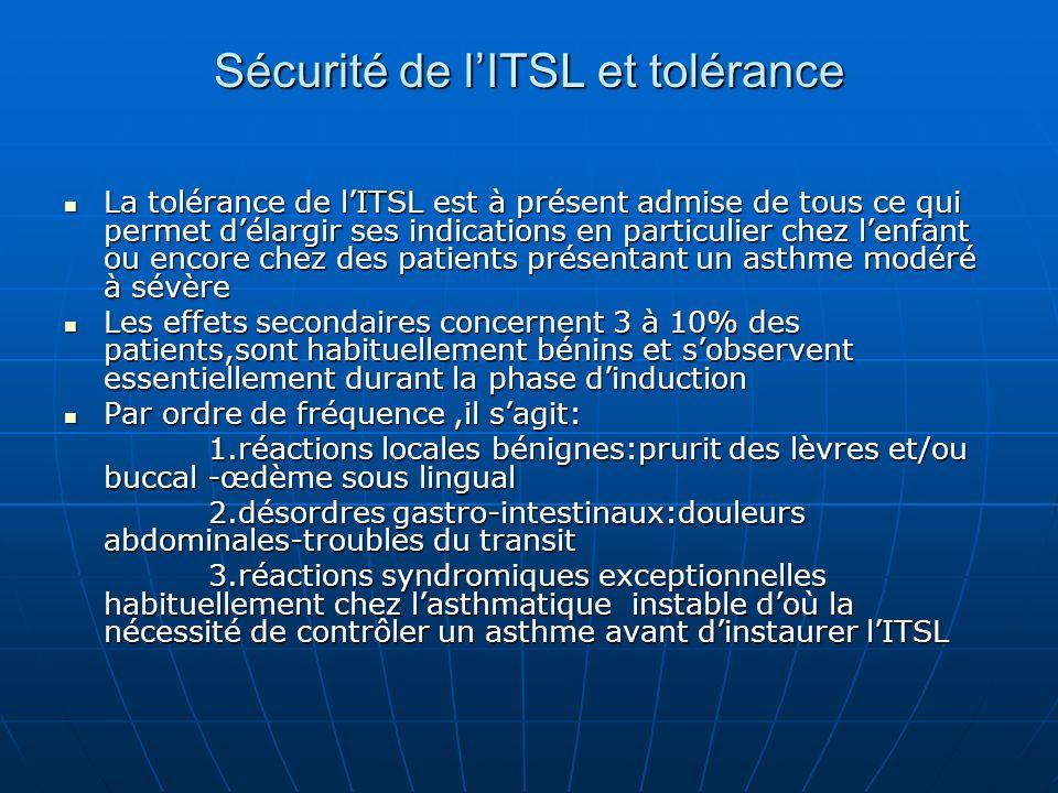Sécurité de lITSL et tolérance La tolérance de lITSL est à présent admise de tous ce qui permet délargir ses indications en particulier chez lenfant o
