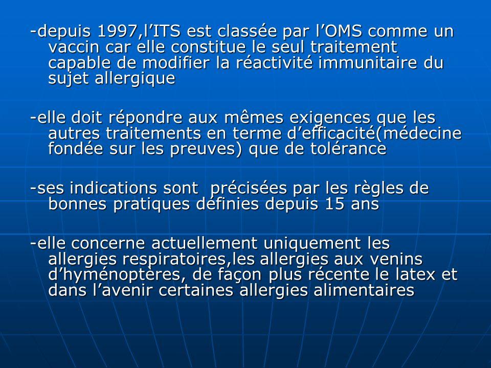 -depuis 1997,lITS est classée par lOMS comme un vaccin car elle constitue le seul traitement capable de modifier la réactivité immunitaire du sujet al