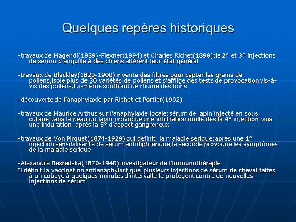 -travaux de Cooke(1880-1960) fondateur de lallergologie moderne,précise le caractère héréditaire de lallergie et met au point les premières désensibilisations(fractionnement des allergènes-mesure des Ac bloquants- standardisation des allergènes et titrage en PNU) -découverte des Ig E par Ishisaka et Johansson -classification de Gell et Coombs en 1963 qui met en relief limportance de lallergie de type 1 -travaux de Fernand Widal(1962-1929) et son équipe Pasteur Vallery- Radot,Blamoutier,Halpern et Charpin -travaux de Scafer(1997) sur la purification des allergènes à présent lITS est considérée par lOMS comme un vaccin(conférence de Genève 27 janv 97) possédant des effets protecteurs mais également préventifs contre lacquisition dallergies nouvelles à présent lITS est considérée par lOMS comme un vaccin(conférence de Genève 27 janv 97) possédant des effets protecteurs mais également préventifs contre lacquisition dallergies nouvelles