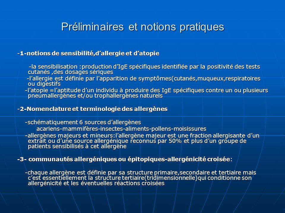 Préliminaires et notions pratiques -1-notions de sensibilité,dallergie et datopie -la sensibilisation :production dIgE spécifiques identifiée par la p