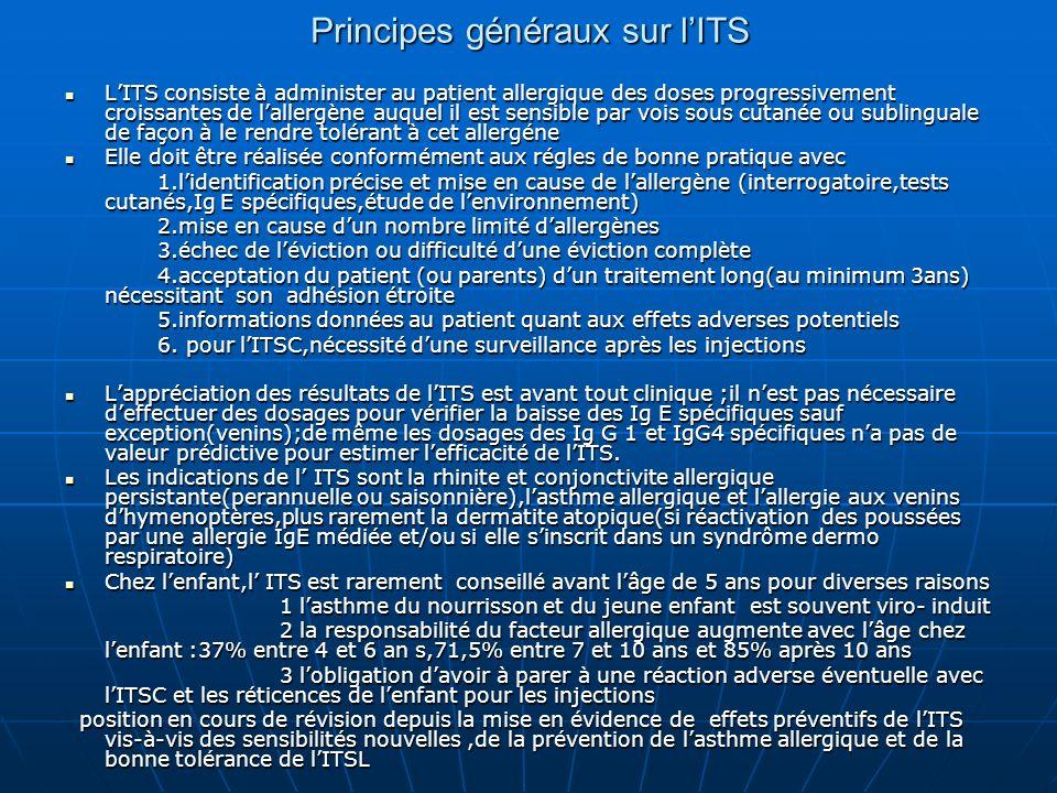 Principes généraux sur lITS LITS consiste à administer au patient allergique des doses progressivement croissantes de lallergène auquel il est sensibl