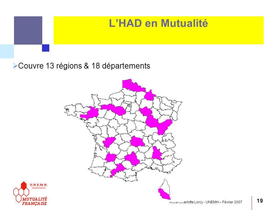 Anne-Charlotte Lorcy - UNEMH – Février 2007 19 LHAD en Mutualité Couvre 13 régions & 18 départements