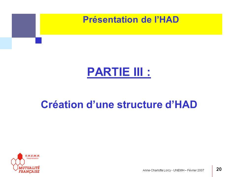 Anne-Charlotte Lorcy - UNEMH – Février 2007 20 Présentation de lHAD PARTIE III : Création dune structure dHAD