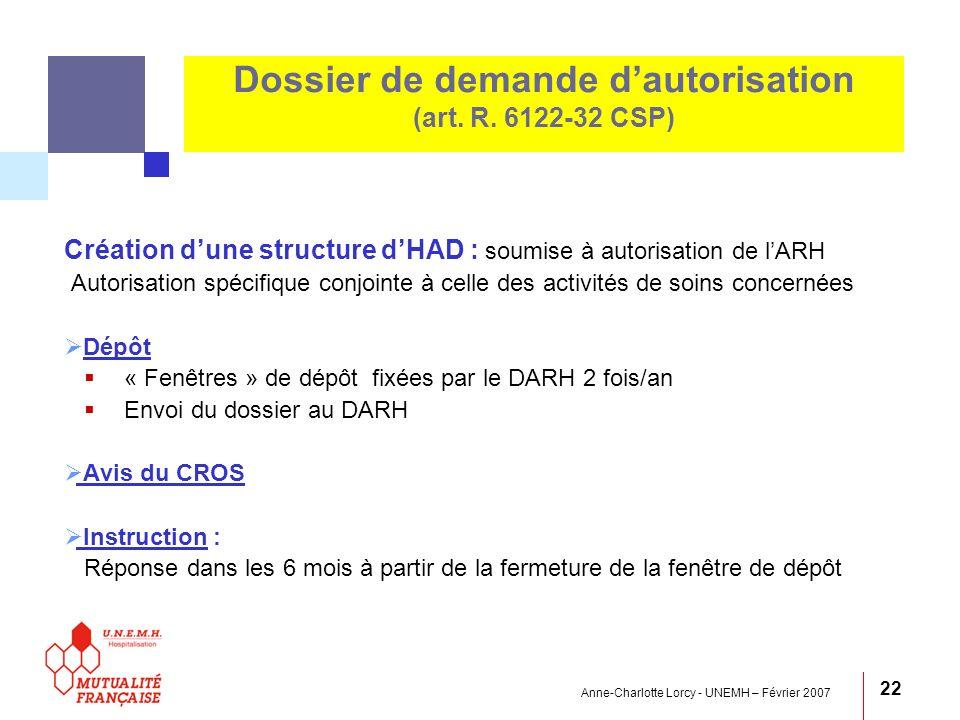 Anne-Charlotte Lorcy - UNEMH – Février 2007 22 Dossier de demande dautorisation (art. R. 6122-32 CSP) Création dune structure dHAD : soumise à autoris