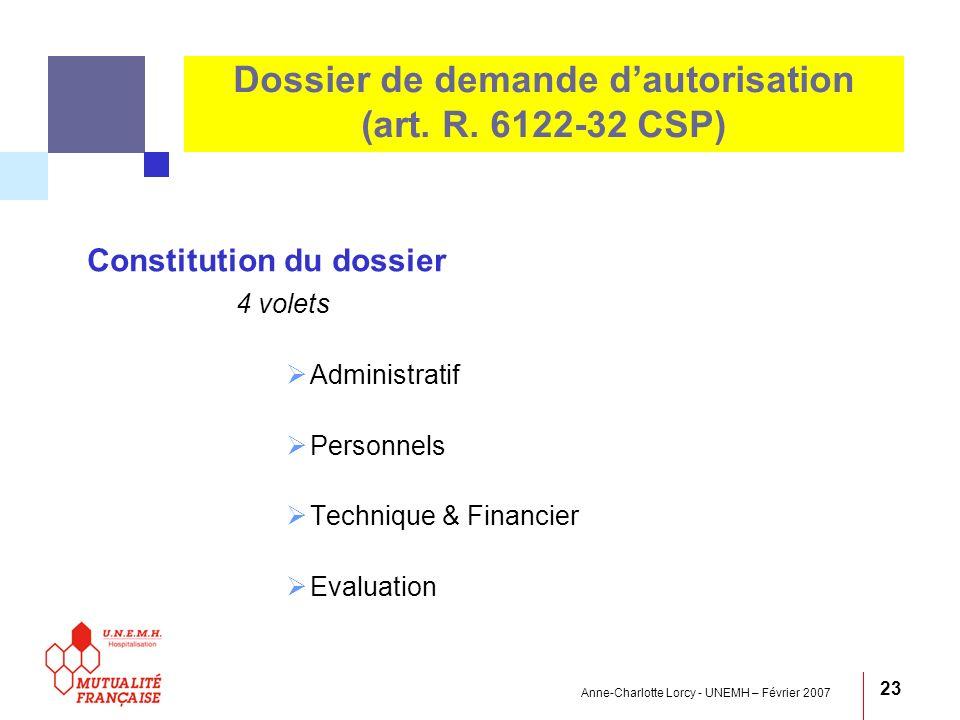 Anne-Charlotte Lorcy - UNEMH – Février 2007 23 Constitution du dossier 4 volets Administratif Personnels Technique & Financier Evaluation Dossier de d