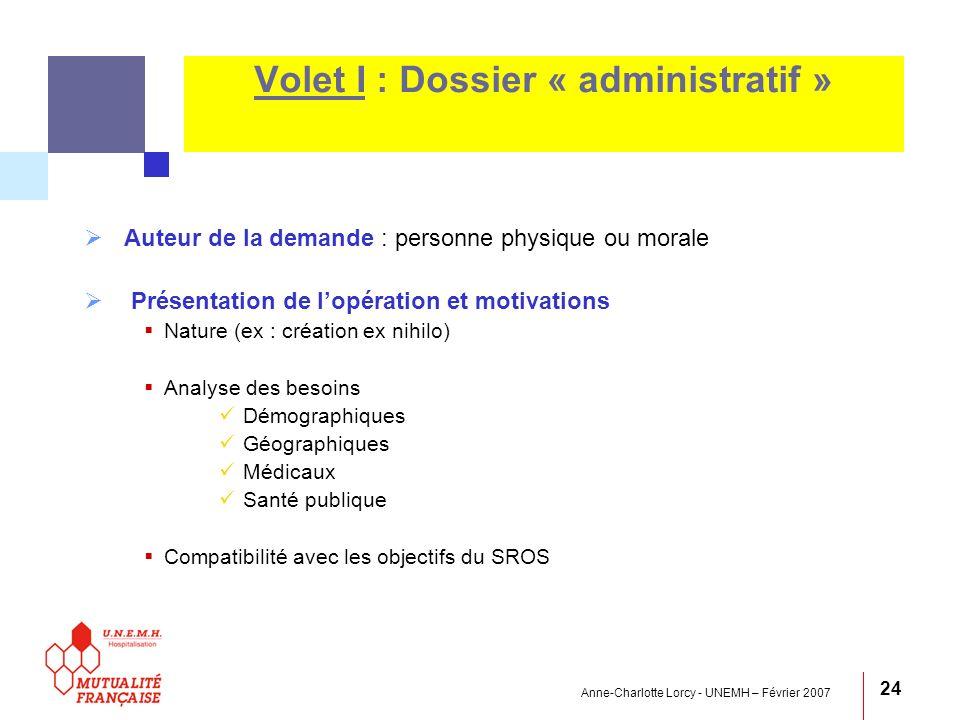 Anne-Charlotte Lorcy - UNEMH – Février 2007 24 Volet I : Dossier « administratif » Auteur de la demande : personne physique ou morale Présentation de