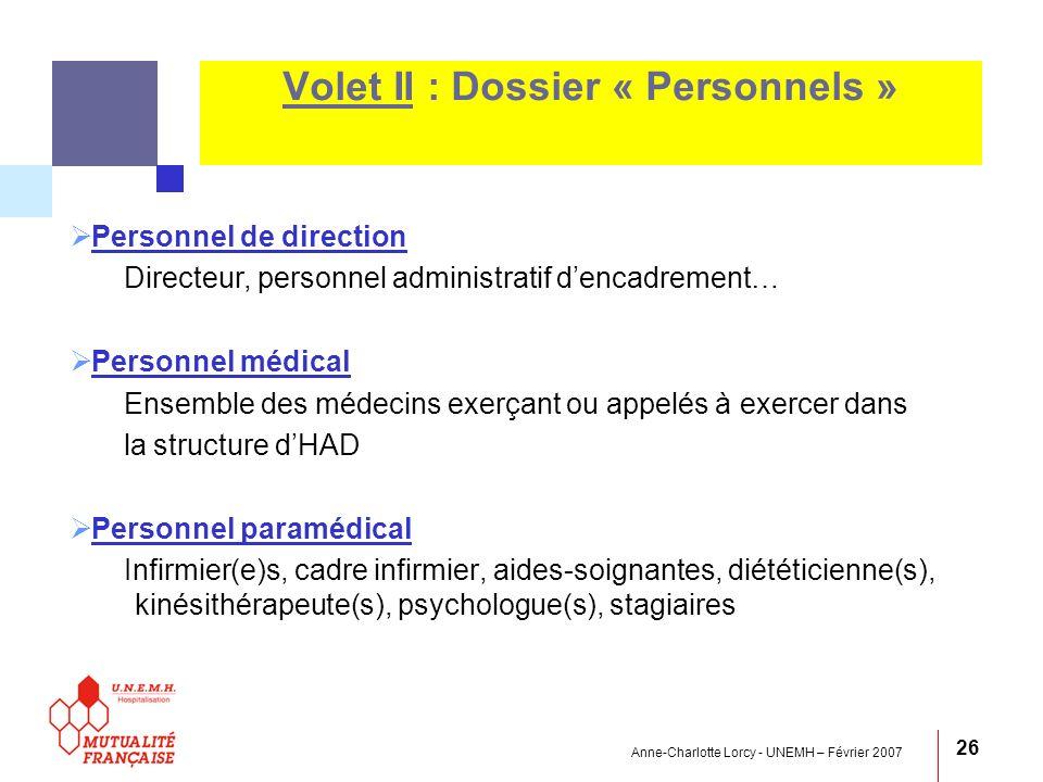 Anne-Charlotte Lorcy - UNEMH – Février 2007 26 Volet II : Dossier « Personnels » Personnel de direction Directeur, personnel administratif dencadremen