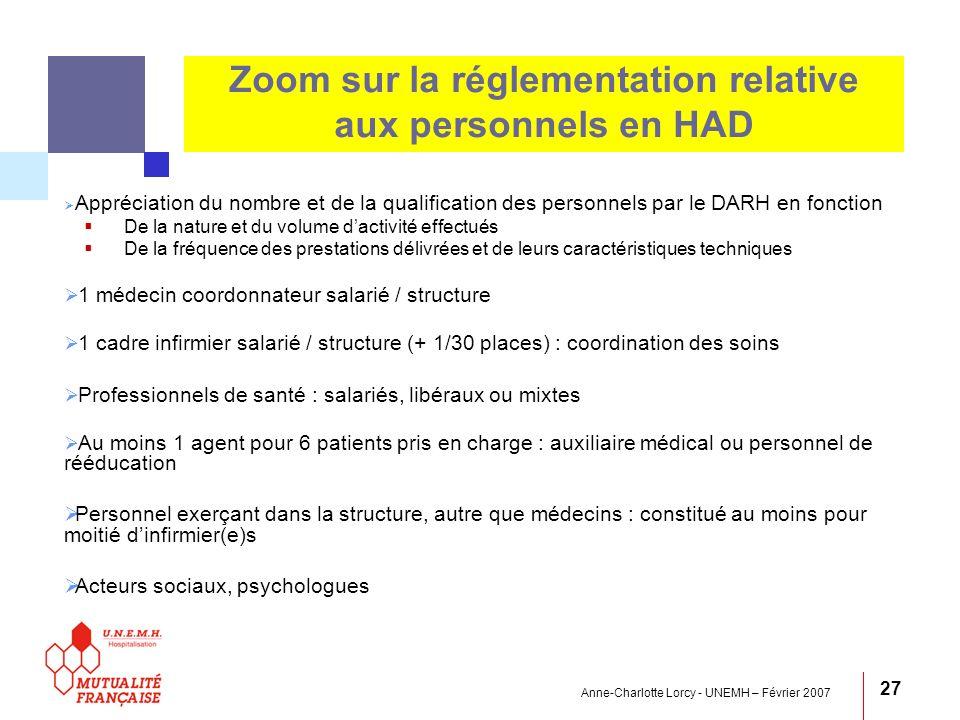 Anne-Charlotte Lorcy - UNEMH – Février 2007 27 Zoom sur la réglementation relative aux personnels en HAD Appréciation du nombre et de la qualification