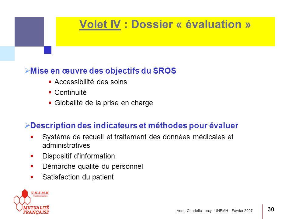 Anne-Charlotte Lorcy - UNEMH – Février 2007 30 Volet IV : Dossier « évaluation » Mise en œuvre des objectifs du SROS Accessibilité des soins Continuit