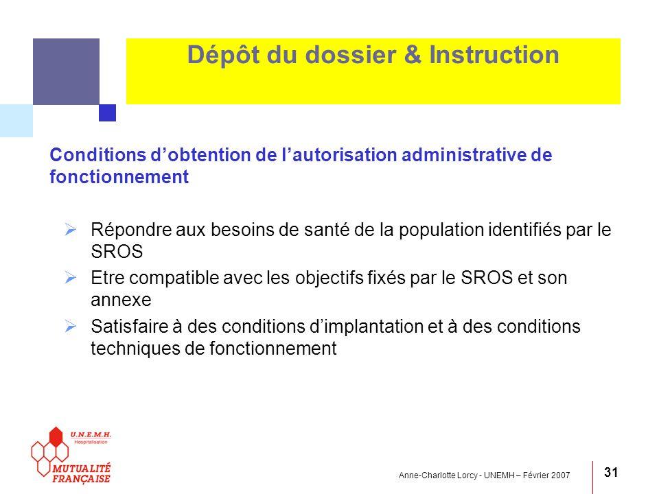 Anne-Charlotte Lorcy - UNEMH – Février 2007 31 Dépôt du dossier & Instruction Conditions dobtention de lautorisation administrative de fonctionnement