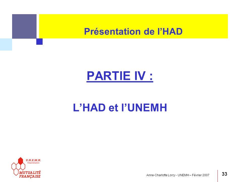 Anne-Charlotte Lorcy - UNEMH – Février 2007 33 Présentation de lHAD PARTIE IV : LHAD et lUNEMH