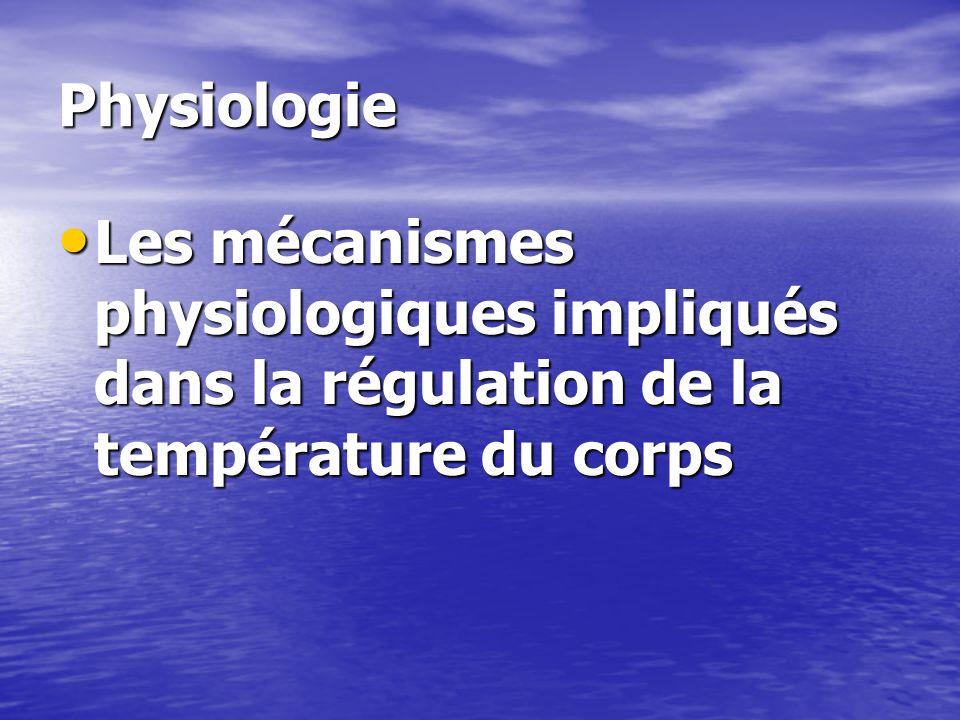 Physiologie Par conduction Par conduction Par convection Par convection Par radiation Par radiation Par évaporation Par évaporation La secrétion sudorale normale Ladaptation à la chaleur