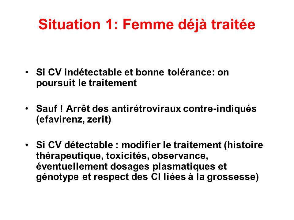 Situation 1: Femme déjà traitée Si CV indétectable et bonne tolérance: on poursuit le traitement Sauf ! Arrêt des antirétroviraux contre-indiqués (efa