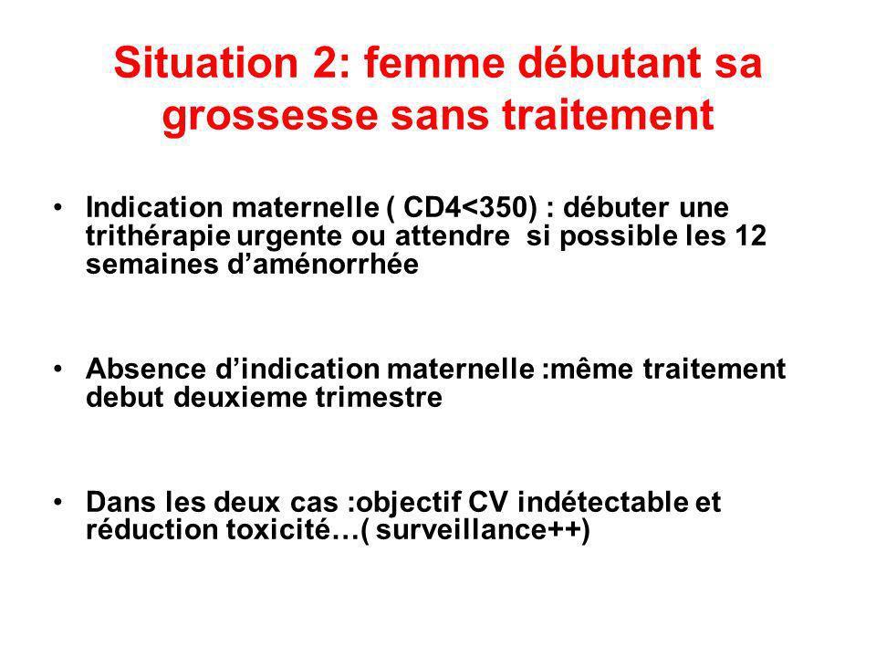 Situation 2: femme débutant sa grossesse sans traitement Indication maternelle ( CD4<350) : débuter une trithérapie urgente ou attendre si possible le