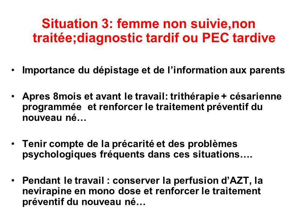 Situation 3: femme non suivie,non traitée;diagnostic tardif ou PEC tardive Importance du dépistage et de linformation aux parents Apres 8mois et avant