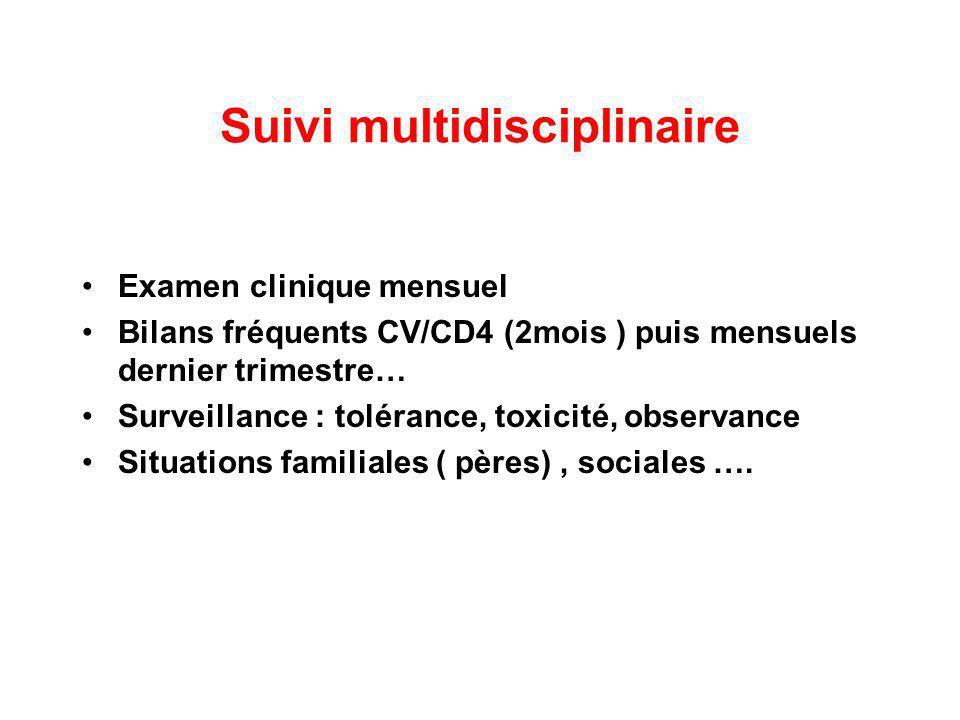 Suivi multidisciplinaire Examen clinique mensuel Bilans fréquents CV/CD4 (2mois ) puis mensuels dernier trimestre… Surveillance : tolérance, toxicité,