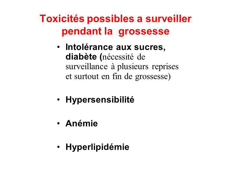 Toxicités possibles a surveiller pendant la grossesse Intolérance aux sucres, diabète ( nécessité de surveillance à plusieurs reprises et surtout en f