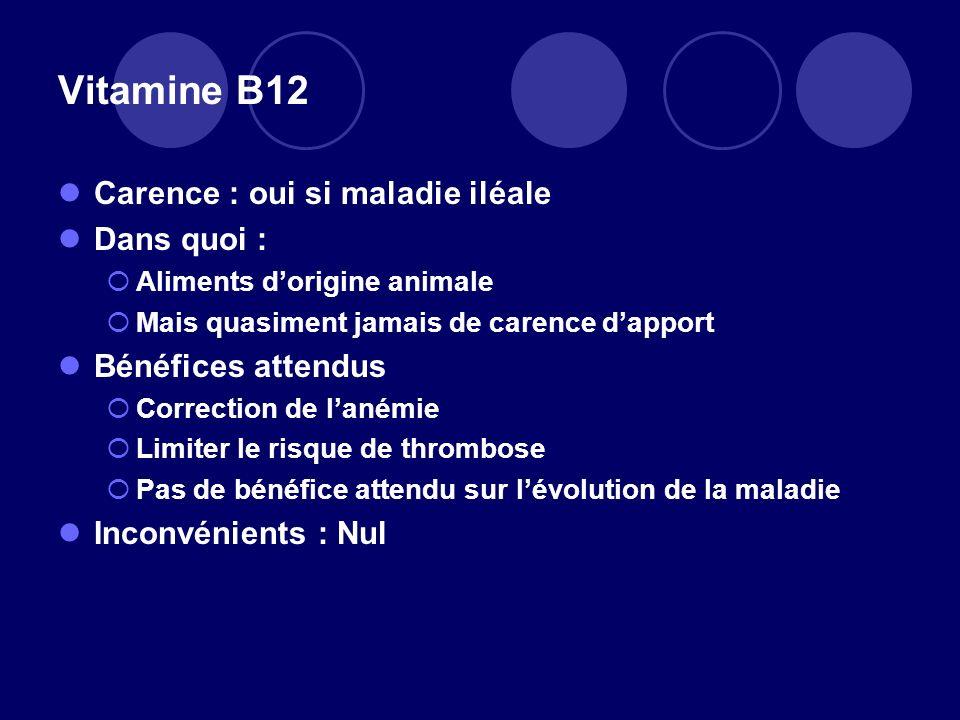 Vitamine B12 Carence : oui si maladie iléale Dans quoi : Aliments dorigine animale Mais quasiment jamais de carence dapport Bénéfices attendus Correct