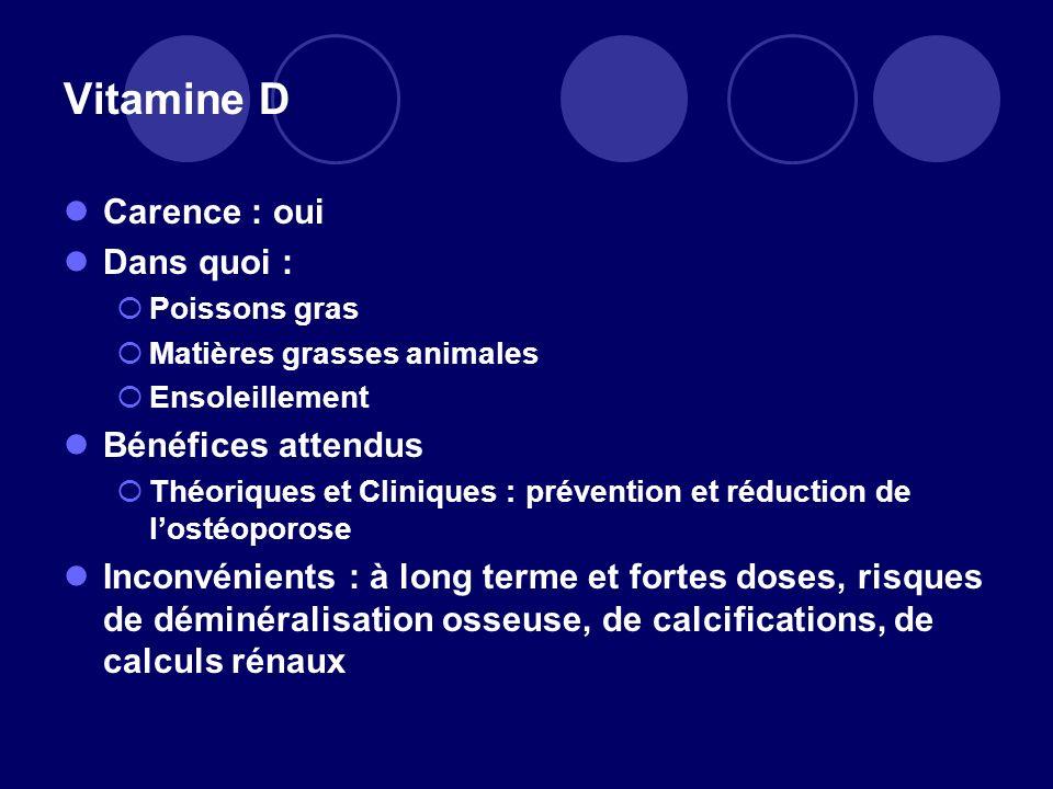 Vitamine D Carence : oui Dans quoi : Poissons gras Matières grasses animales Ensoleillement Bénéfices attendus Théoriques et Cliniques : prévention et