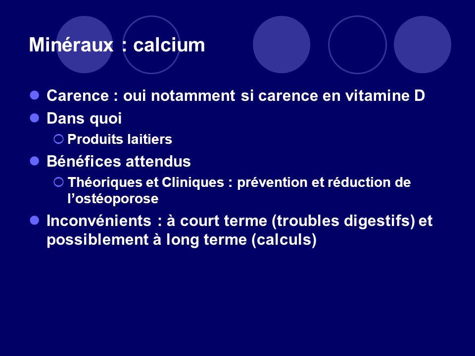 Minéraux : calcium Carence : oui notamment si carence en vitamine D Dans quoi Produits laitiers Bénéfices attendus Théoriques et Cliniques : préventio