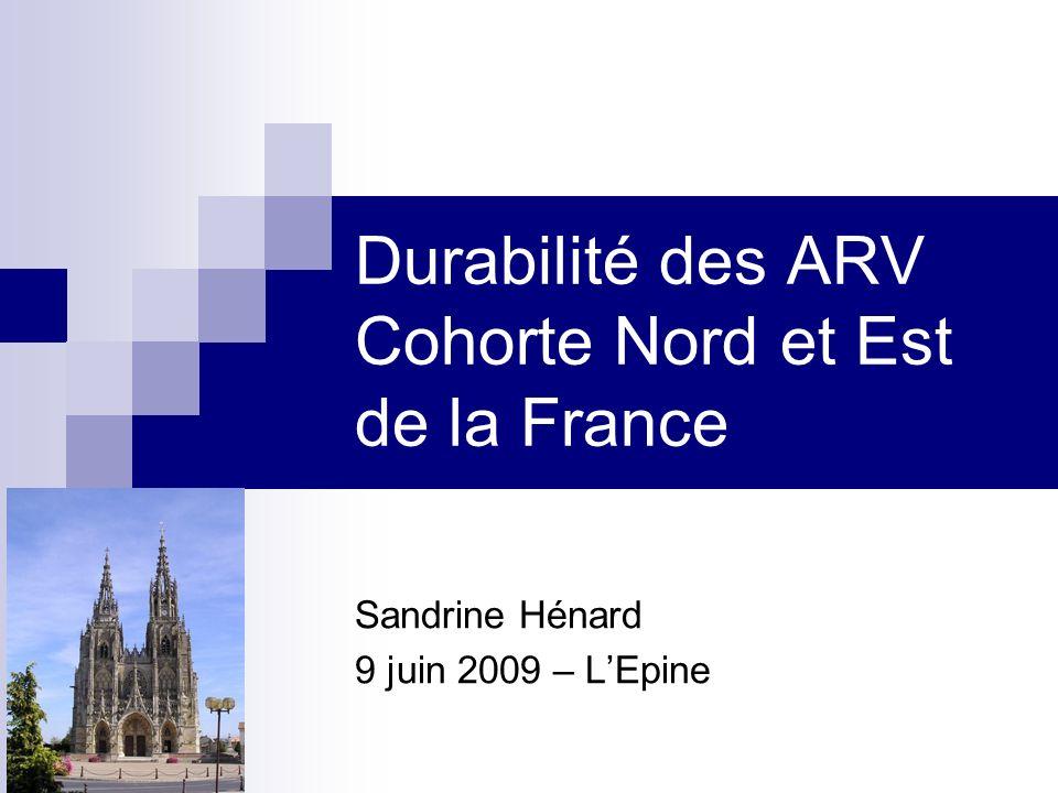 Durabilité des ARV Cohorte Nord et Est de la France Sandrine Hénard 9 juin 2009 – LEpine