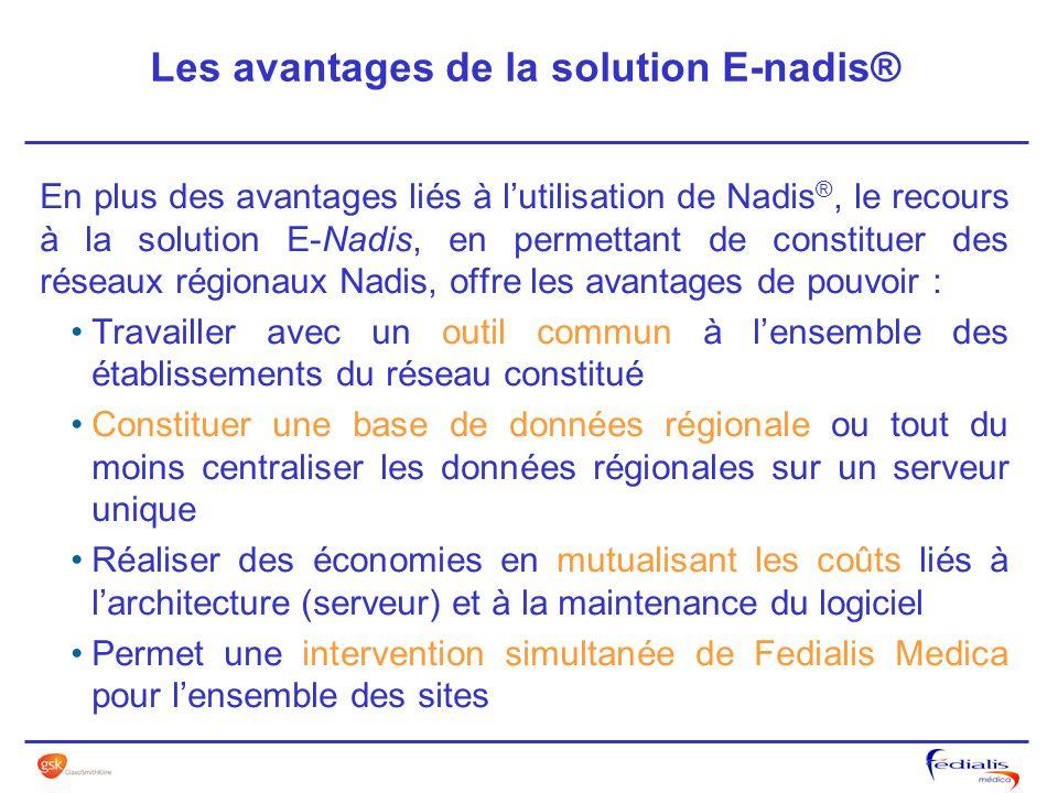 En plus des avantages liés à lutilisation de Nadis ®, le recours à la solution E-Nadis, en permettant de constituer des réseaux régionaux Nadis, offre