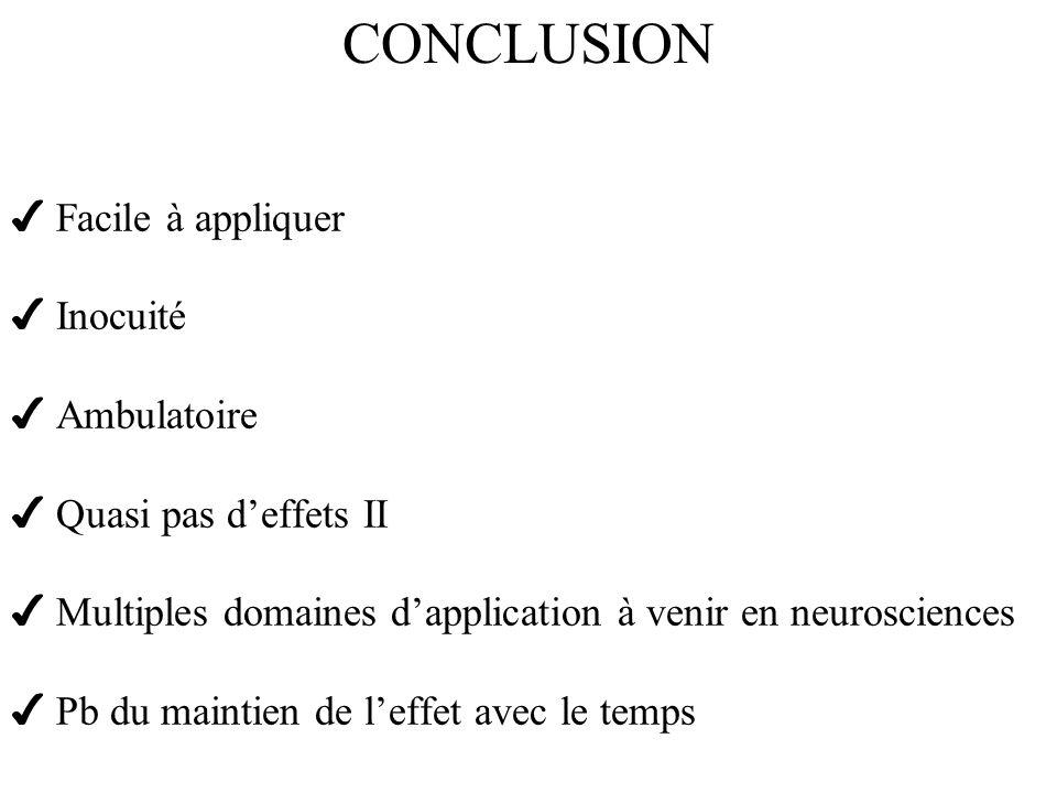 Facile à appliquer Inocuité Ambulatoire Quasi pas deffets II Multiples domaines dapplication à venir en neurosciences Pb du maintien de leffet avec le temps CONCLUSION