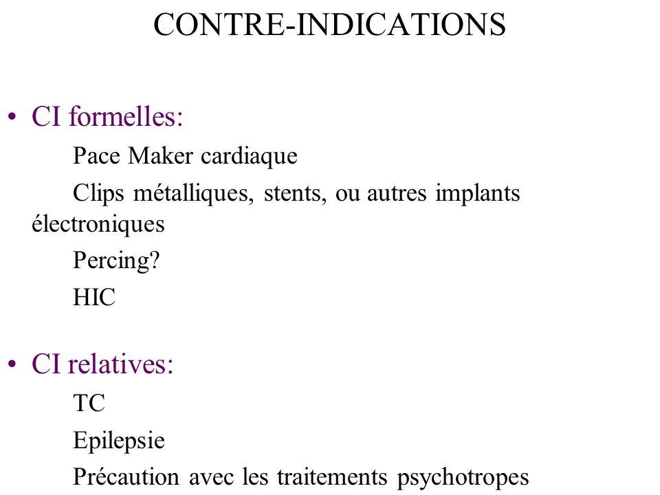 CONTRE-INDICATIONS CI formelles: Pace Maker cardiaque Clips métalliques, stents, ou autres implants électroniques Percing.