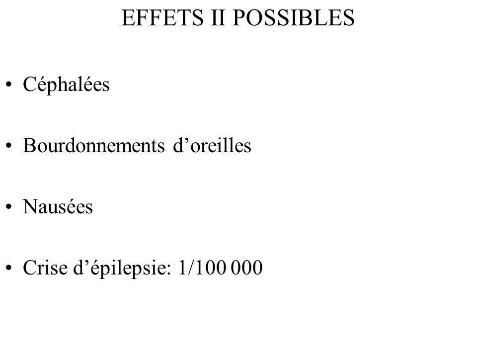 EFFETS II POSSIBLES Céphalées Bourdonnements doreilles Nausées Crise dépilepsie: 1/100 000