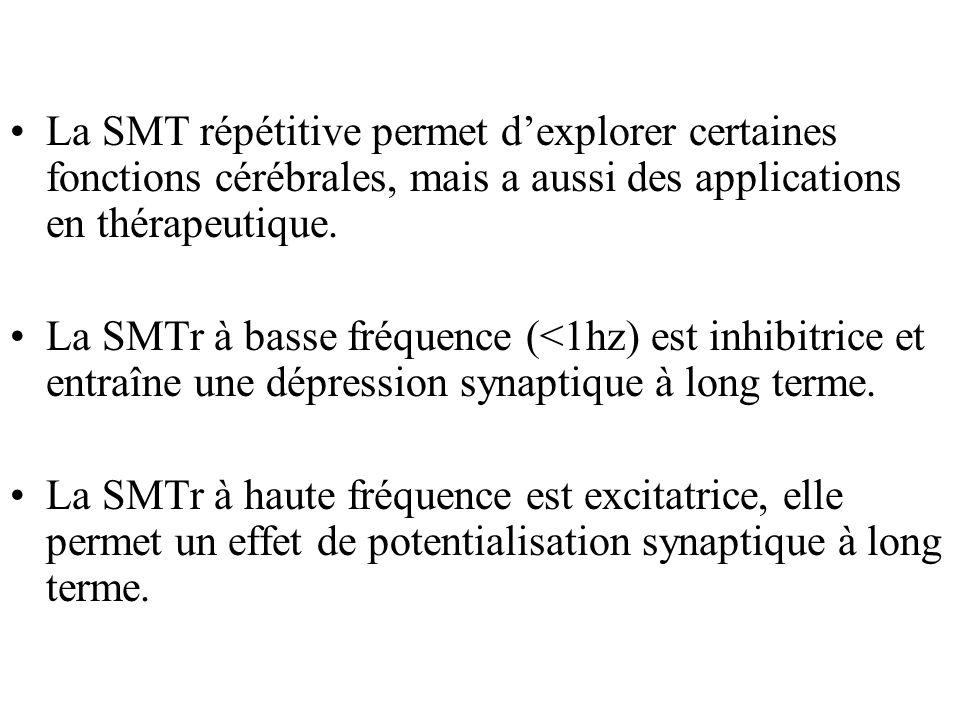 La SMT répétitive permet dexplorer certaines fonctions cérébrales, mais a aussi des applications en thérapeutique.