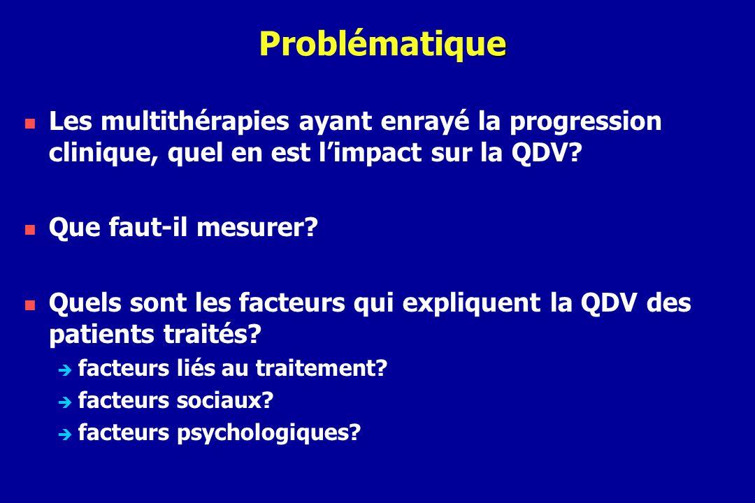 e Problématique Les multithérapies ayant enrayé la progression clinique, quel en est limpact sur la QDV? Que faut-il mesurer? Quels sont les facteurs