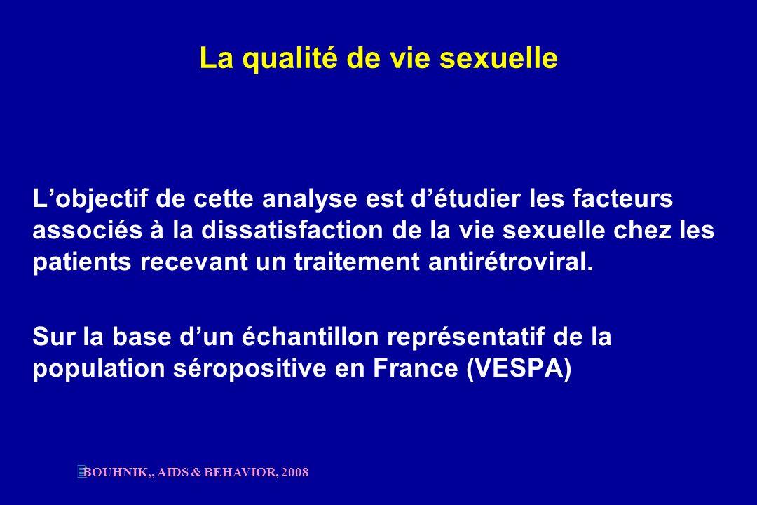 La qualité de vie sexuelle Lobjectif de cette analyse est détudier les facteurs associés à la dissatisfaction de la vie sexuelle chez les patients rec