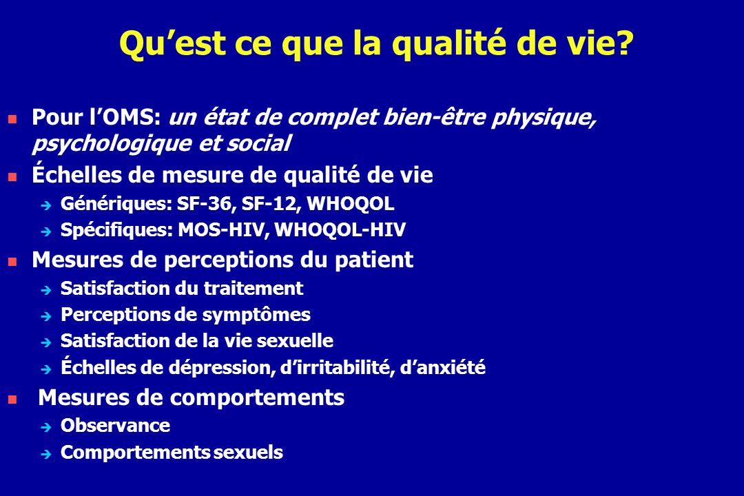 Mesure de la qualité de vie par le SF-36 (1) Le MOS-SF-36 possède 8 dimensions l activité physique, les douleurs physiques les limitations dues à l état physique, la santé perçue la vie et les relations avec les autres, la vitalité les limitations dues à l état psychique, la santé psychique 8 sous-échelles : 4 physiques, 4 mentales qui peuvent s agréger en 2 sous-échelles PCS et MCS