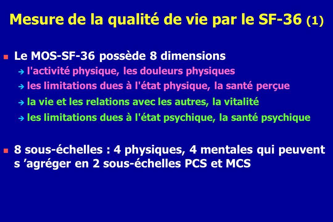 Mesure de la qualité de vie par le SF-36 (1) Le MOS-SF-36 possède 8 dimensions l'activité physique, les douleurs physiques les limitations dues à l'ét