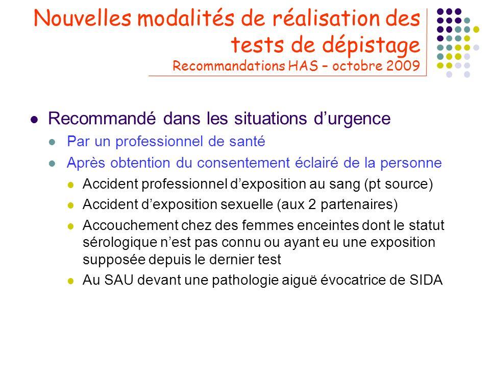 Nouvelles modalités de réalisation des tests de dépistage Recommandations HAS – octobre 2009 Recommandé dans les situations durgence Par un profession